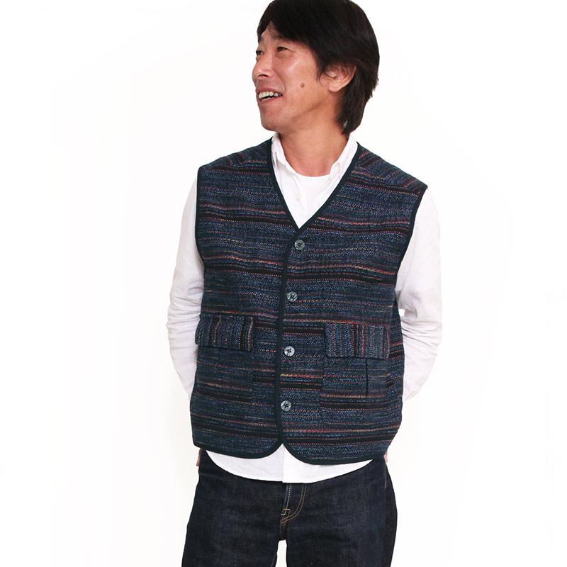 宮田織物 アマツブ紳士ベスト メンズ 男性 春 秋 冬 日本製 綿100% 和調 黒 紺 フリー
