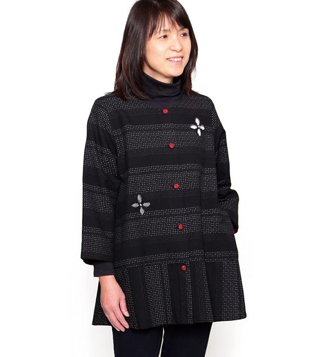 宮田織物 彩藍 日向(ひなた)ブラウス レディース 女性 春 秋 日本製 長袖 綿100% 赤 グレー フリー