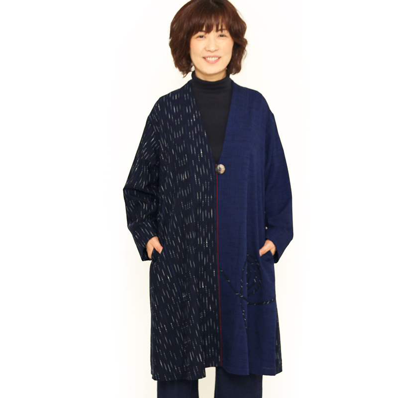 宮田織物 彩藍 稲光(いなびかり)ブラジャケ レディース 女性 春 秋 日本製 長袖 綿100% 黒 紺 フリー