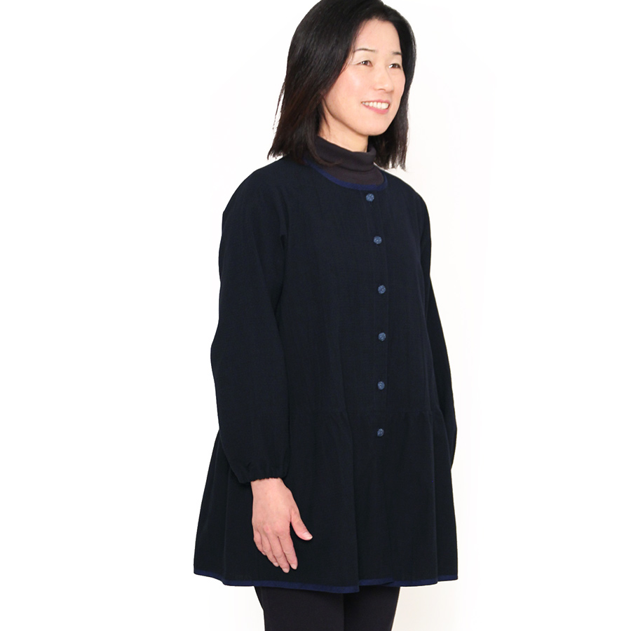 【彩藍】トリミングスモック【日本製】宮田織物製・綿100%・和木綿【プレゼント/ギフト】