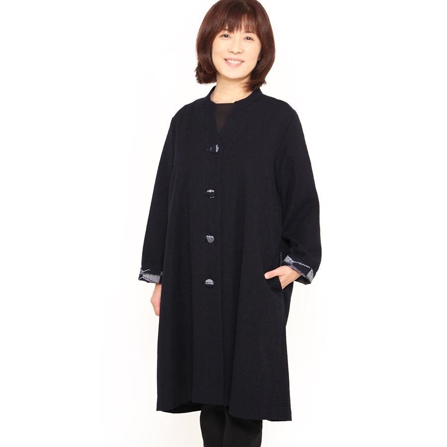 宮田織物 彩藍 暦(こよみ)ジャケット レディース 女性 春 秋 日本製 長袖 綿100% 無地 紺 グレー フリー