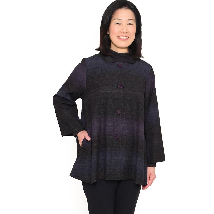 宮田織物 彩藍 笹鳴(ささなき)ジャケット レディース 女性 春 秋 日本製 長袖 綿100% 黒 赤 フリー