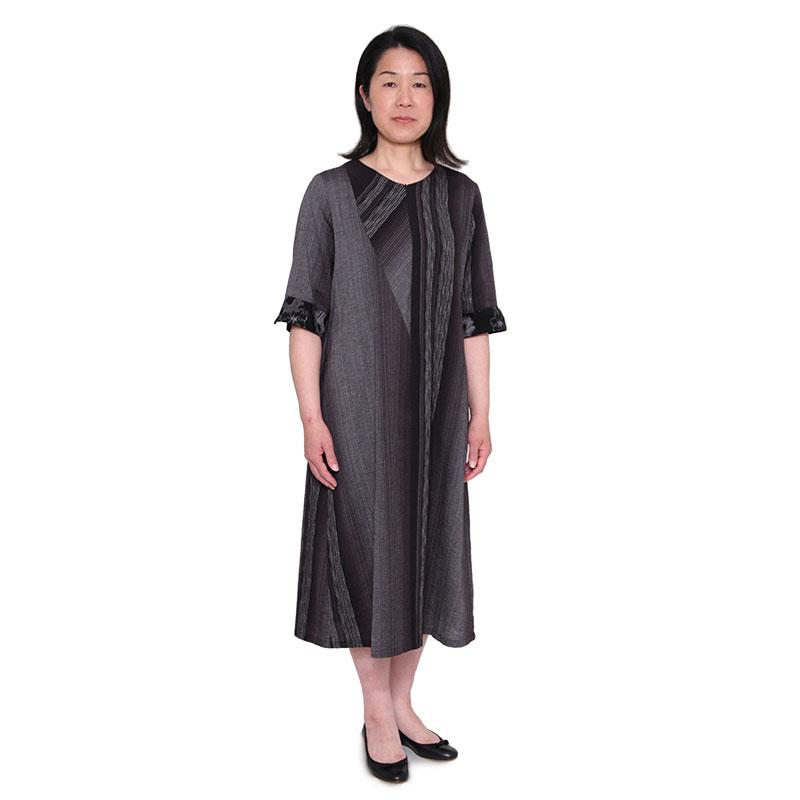 宮田織物 彩藍 松葉ワンピース レディース 女性 春 夏 日本製 五分袖 綿100% 黒 赤 パープル フリー