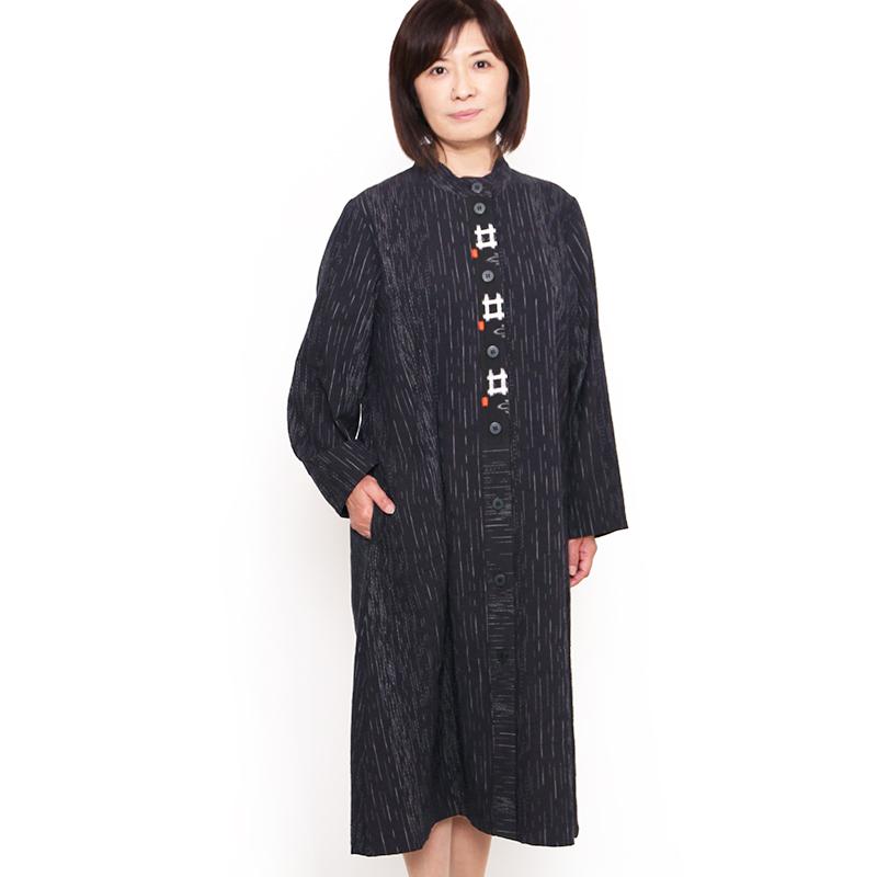 宮田織物 彩藍 冬野(ふゆの)ワンピース レディース 女性 春 秋 日本製 綿100% 長袖 黒 紺 フリー