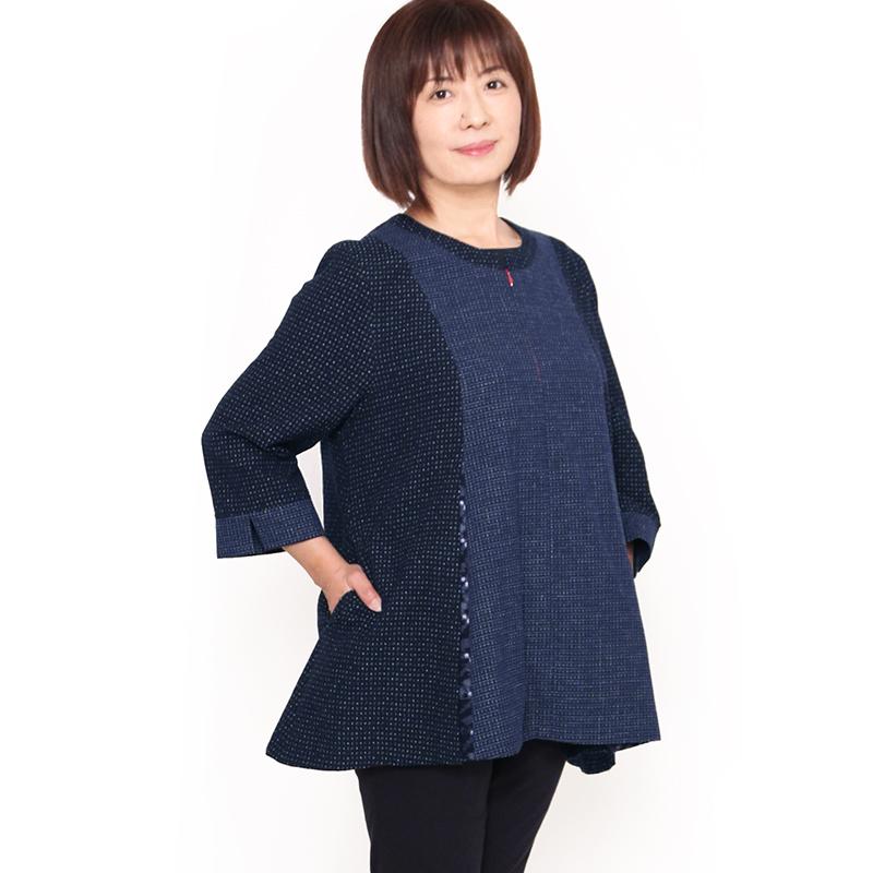 宮田織物 彩藍 文人(ぶんじん)ブラウス レディース 女性 春 夏 秋 日本製 綿100% 古典柄 フリー