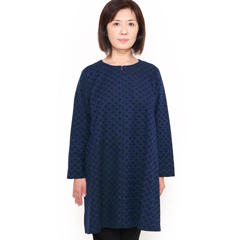 宮田織物 彩藍 狐火(きつねび)ブラウス レディース 女性 春 秋 日本製 綿100% 長袖 フリー