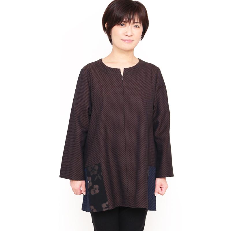 宮田織物 彩藍 刺子花織(さしこはなおり)ブラウス レディース 女性 春 秋 冬 日本製 綿100% 長袖 フリー