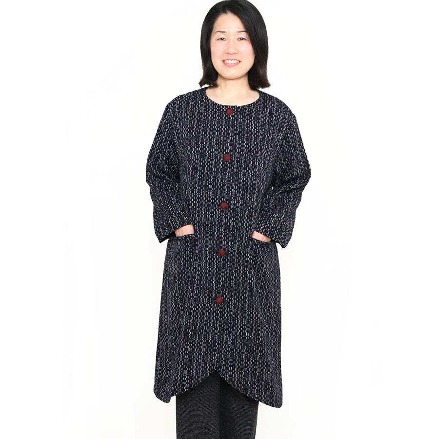 宮田織物 彩藍 水鞠(みずまり)ジャケット レディース 女性 春 秋 日本製 長袖 綿100% ノーカラー 赤 グレー 濃紺 フリー