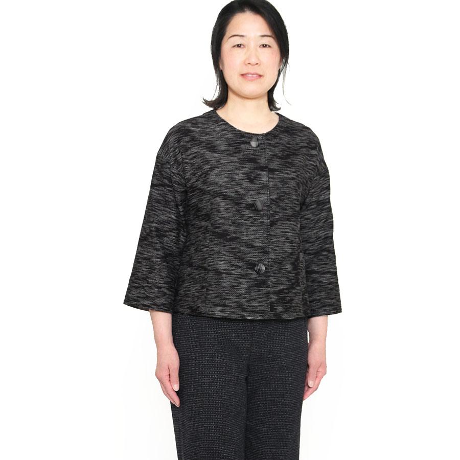 宮田織物 彩藍 夜半(よはん)ショートジャケット レディース 女性 春 秋 日本製 長袖 綿100% 黒 グリーン パープル フリー