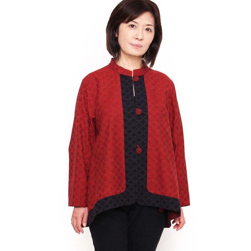 宮田織物 彩藍 狐火(きつねび)ジャケット レディース 女性 春 秋 日本製 長袖 綿100% 黒 赤 ブルー フリー
