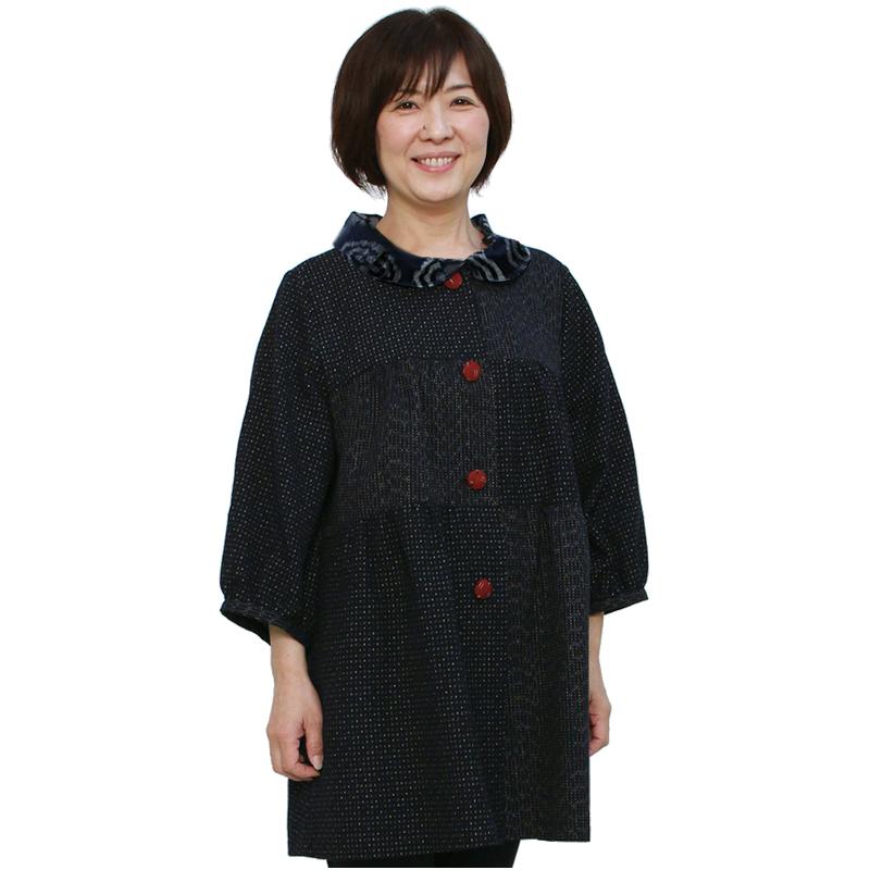 宮田織物 彩藍 文人調ジャケット レディース 女性 春 夏 秋 日本製 七分袖 綿100% 文人調 フリー