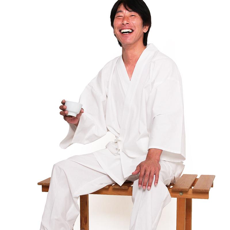 作務衣 さむえ 宮田織物 白 紬織り はっ水加工 メンズ 春夏秋冬用 日本製 綿100% 白 M/L/LL