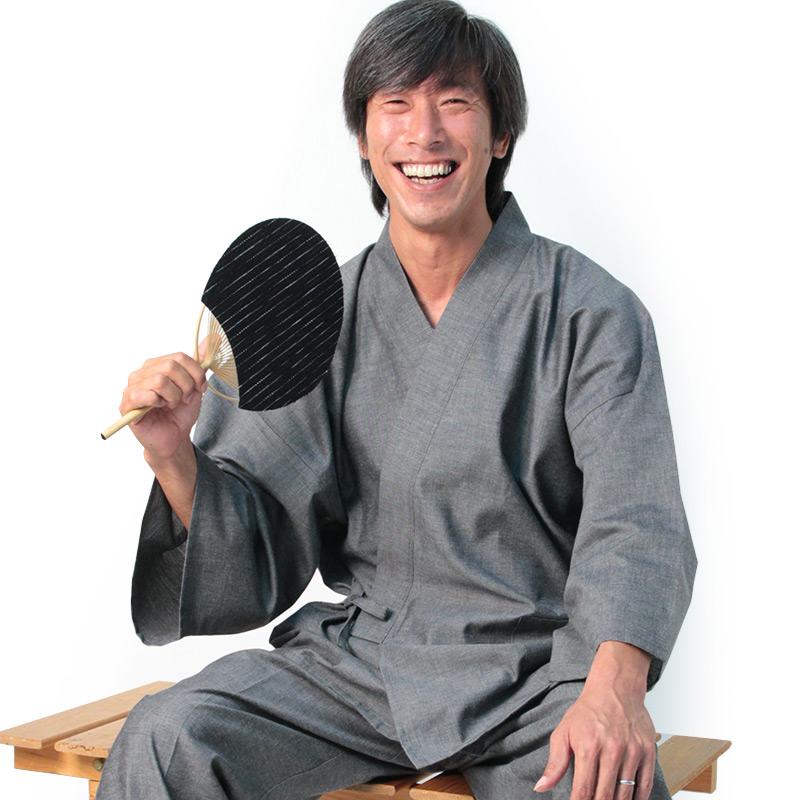 作務衣 さむえ 宮田織物 ちぢみ織り メンズ 日本製 夏用 綿100% 黒/紺/グレー M/L/LL