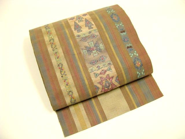 【未使用品】正絹 袋名古屋帯/ベージュ/縦縞・幾何学模様【送料無料】【質屋出店】