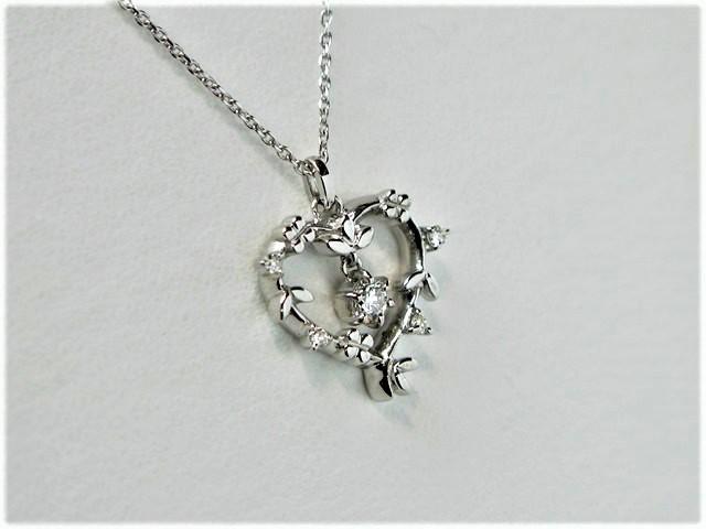 【新品同様】4℃ K18WG ダイヤプチネック/ハート/4.6g【質屋出店】【送料無料】