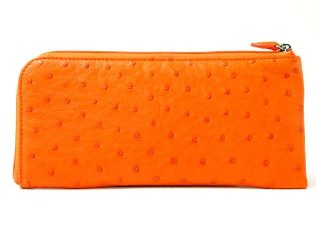【新品】オーストリッチ L字ファスナー長財布/オレンジ【質屋出店】【送料無料】