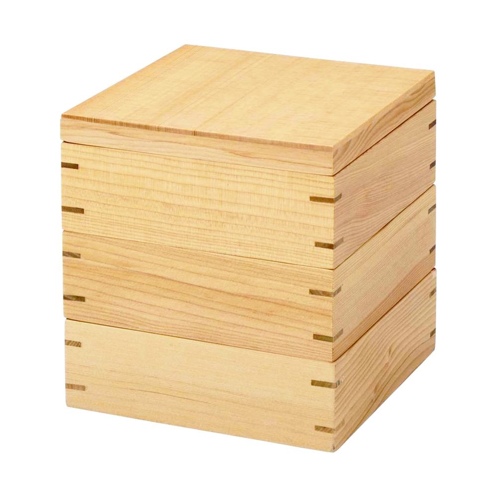 お正月 花見 運動会など一年中活躍してくれるおしゃれな3段重箱 天然木製 6寸 18.5cm 三段 重箱 白木 おせち 弁当箱 まとめ買い特価 25%OFF おしゃれ お重箱 正月 かわいい 3段 運動会 大型