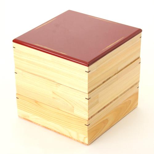 ≪送料無料≫天然木製 紀州塗りNjeco汎 6寸 三段 重箱 変り根来塗り(赤) 無節