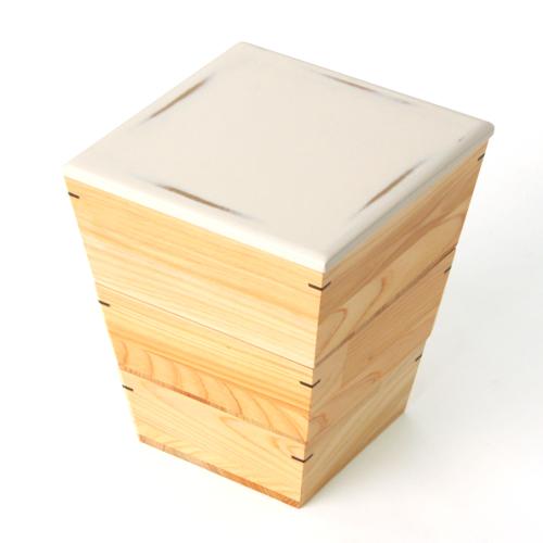 ≪送料無料≫天然木製 紀州塗りNjeco汎 台形入子 三段 重箱 変り根来塗り(白)