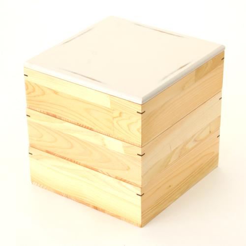 ≪送料無料≫天然木製 紀州塗りNjeco汎 6寸 三段 重箱 変り根来塗り(白) 無節