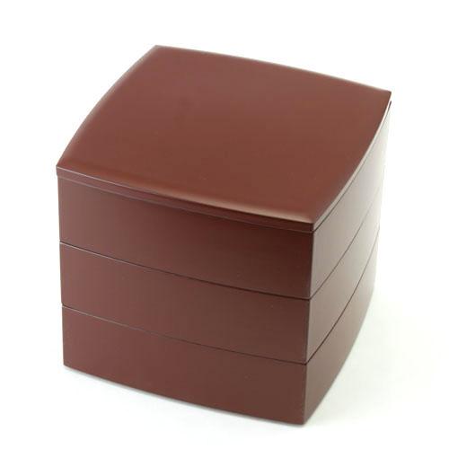 ≪送料無料≫6.5寸 三段 重箱 手塗うるし(朱)
