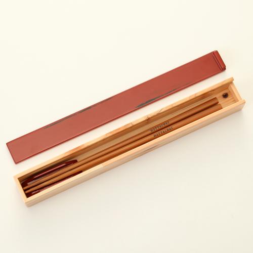 天然木製 紀州塗りNjeco汎 箸・箸箱セット(箸置き付) 変り根来塗り(赤)