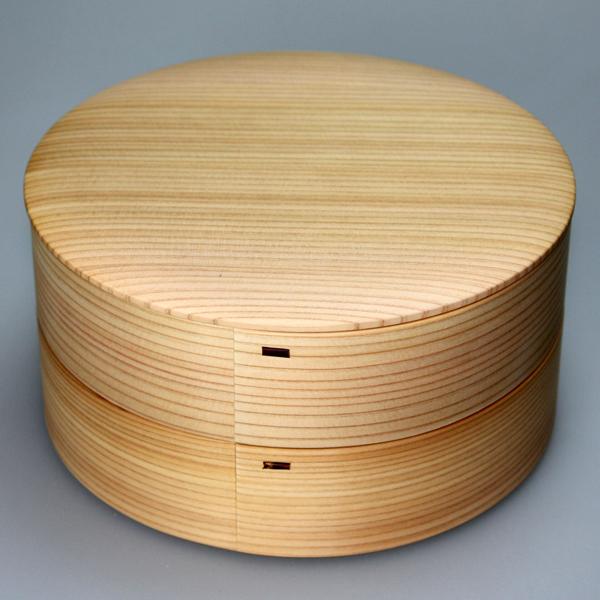 ≪送料無料≫天然秋田杉 大館曲げわっぱ 6寸 丸二段重箱 白木