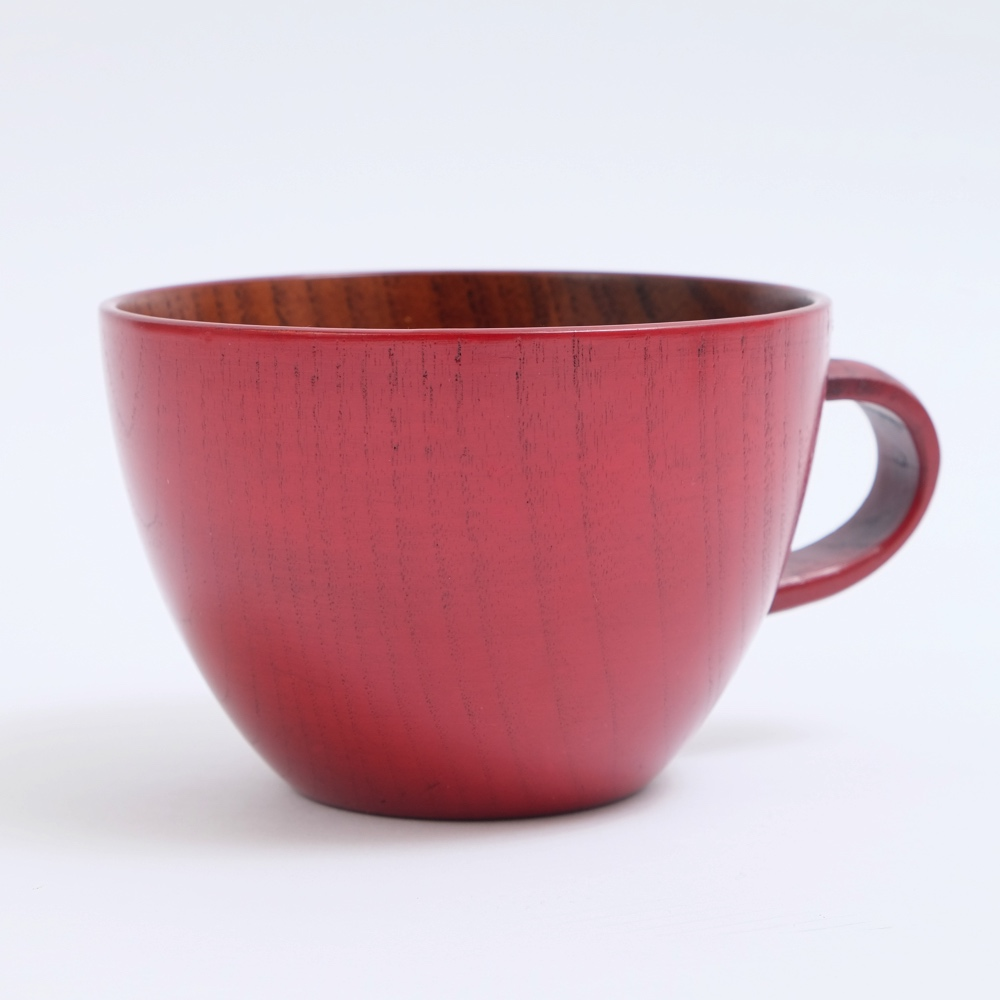 木の温もりが優しく伝わる木のスープカップ \半額 アウトレット 50%OFF 892円引き 11日1:59まで 最大500円クーポン有 天然木製 取っ手 実物 大 赤 持ち手 返品送料無料 漆塗り ちひろ おしゃれ スープカップ