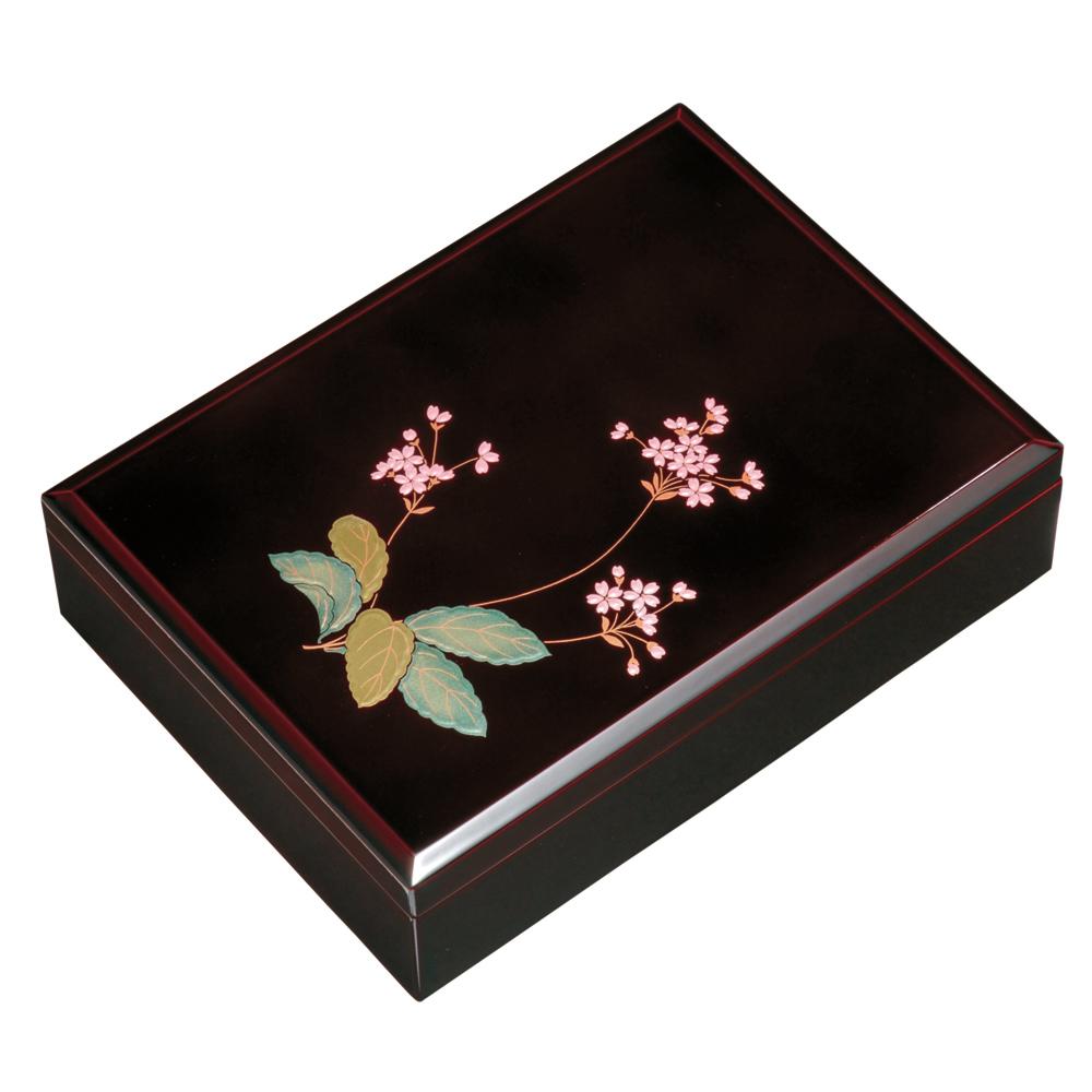 紀州塗り 木製 尺寸 合口文庫 溜 桜草