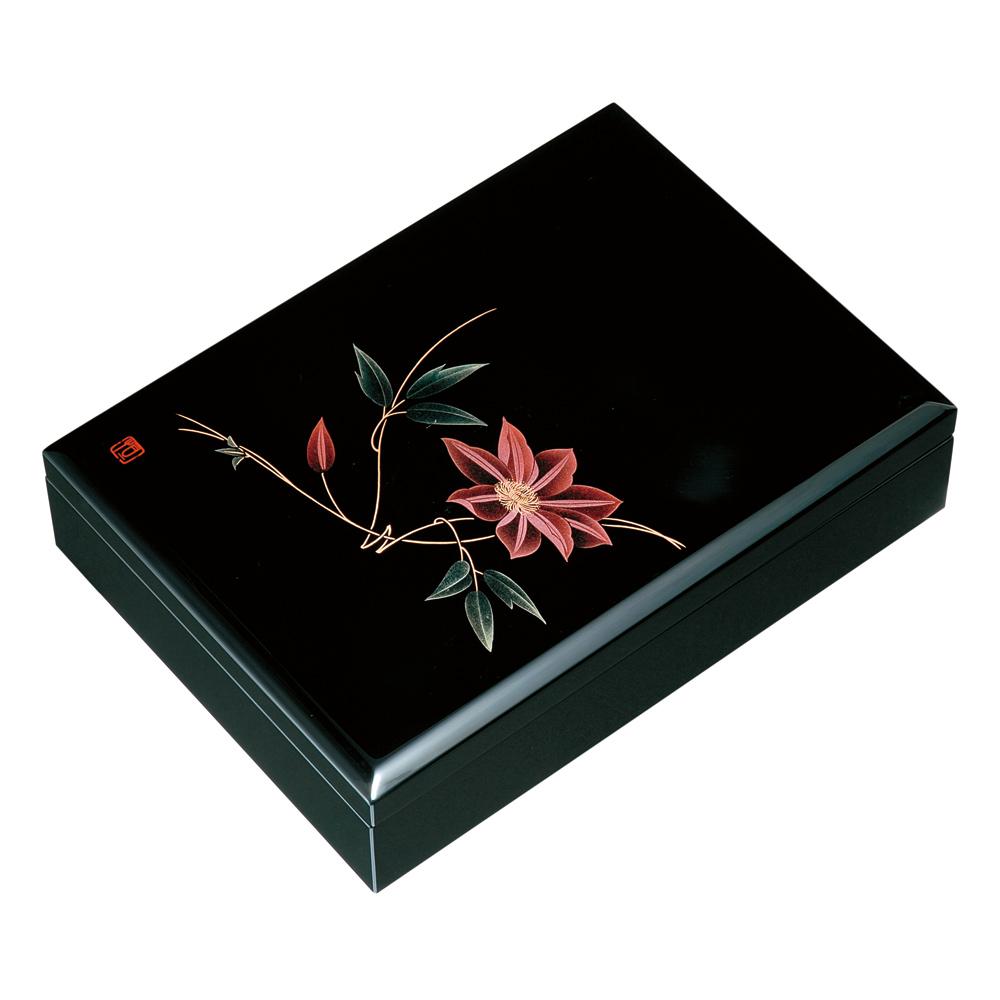 紀州塗り 木製 10.5寸 合口文庫 黒 鉄線(A4判)