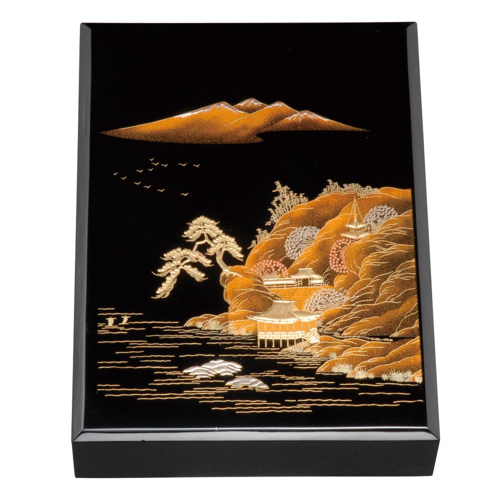 紀州塗り 尺1寸 木製加伏文庫 黒 山水景蒔絵(A4判)