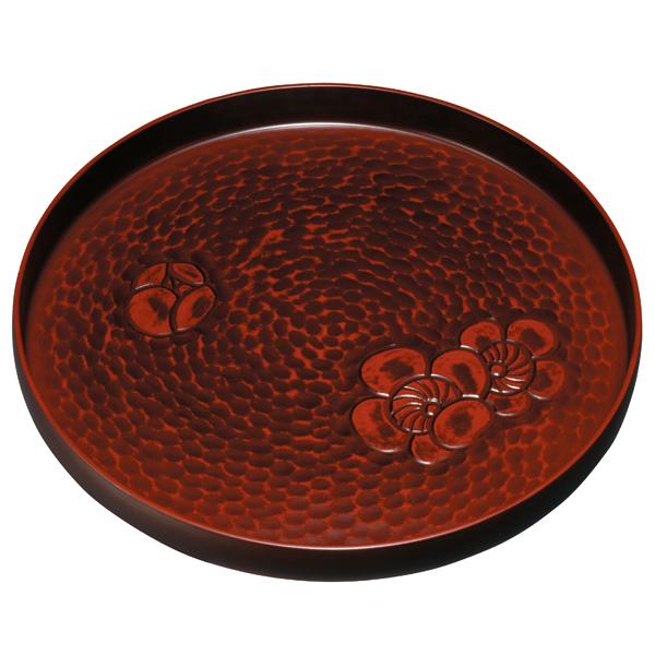 オンラインショップ 紀州漆器の丁寧に塗り上げた丸盆 紀州塗り 9.5寸 鎌倉 セール品 梅彫 丸盆