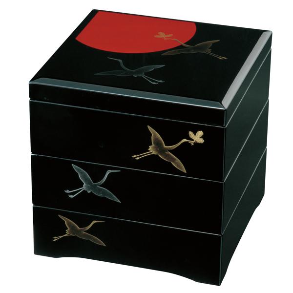 ≪送料無料≫紀州塗り 木製 6.5寸 三段 重箱 黒 日の出鶴