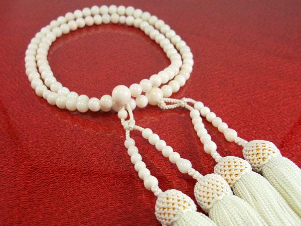 ■女性用念珠(数珠)■ 二輪上白珊瑚(サンゴ) 正絹白房 6.5mm珠 ■送料無料■【送料無料】【店頭受取対応商品】