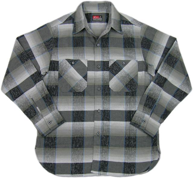 INDIAN MOTORCYCLE(インディアンモーターサイクル) Ombray Rame Check Work Shirt(ラメ入り、チェック ワークシャツ) GRAY(グレー×ブラック )