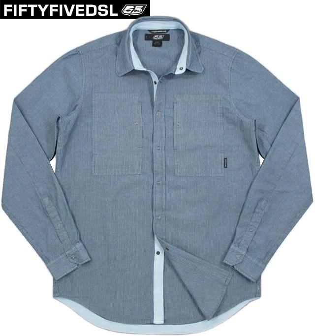 55DSL(FIFTY FIVE DSL) フィフティファイブ ディーエスエル SARCHESAM SHIRT(ストライプ長袖ワークシャツジャケット) INDIGO(インディゴネイビー)