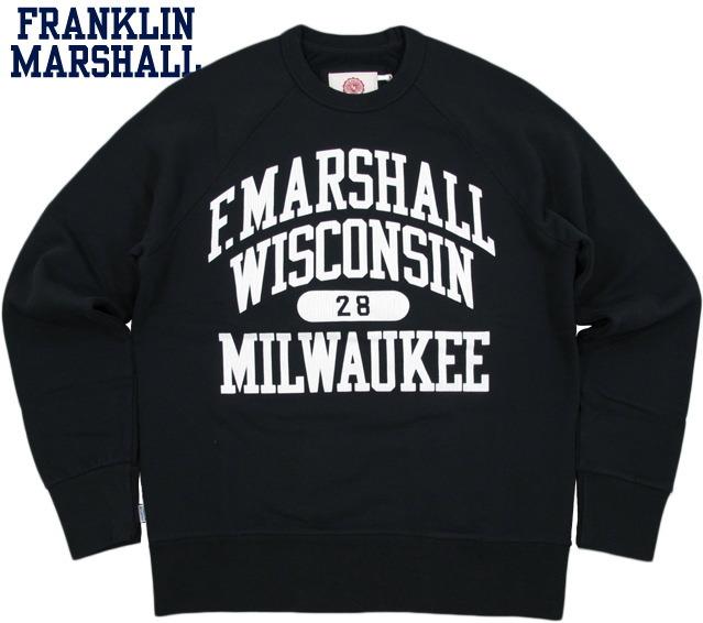 FRANKLIN&MARSHALL/フランクリンアンドマーシャルMen's round neck sweatshirt with print on front ひび割れプリント入り、ラグランスリーブ・スウェットシャツBLACK(ブラック)/FLMVA137W14