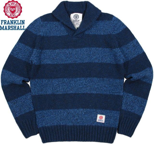 【SALE】30%OFF★FRANKLIN&MARSHALL/フランクリンアンドマーシャル KNITWEAR WOOL V NECK LONG へちま衿 ボーダーセーター/ショールカラーセーター DETROIT BLUE(デトロイトブルー)/SKU# KNMAL045W15
