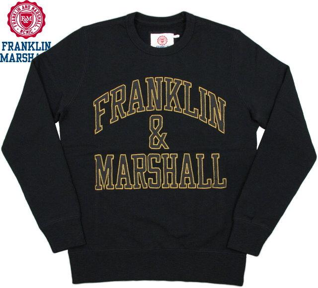 FRANKLIN&MARSHALL/フランクリンアンドマーシャル Men's round neck sweatshirtメンズ クルーネック スウェットシャツ/アップリケアーチロゴ入り、トレーナー BLACK(ブラック)/FLMVA080W15