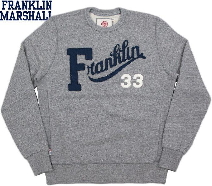 FRANKLIN&MARSHALL/フランクリンアンドマーシャル ROUND NECK SWEATSHIRT WITH APPLIQUESアップリケロゴ入り、スウェットシャツ/トレーナー SPORT GREY(スポーツグレー)/SKU #FLMVA136ANW16