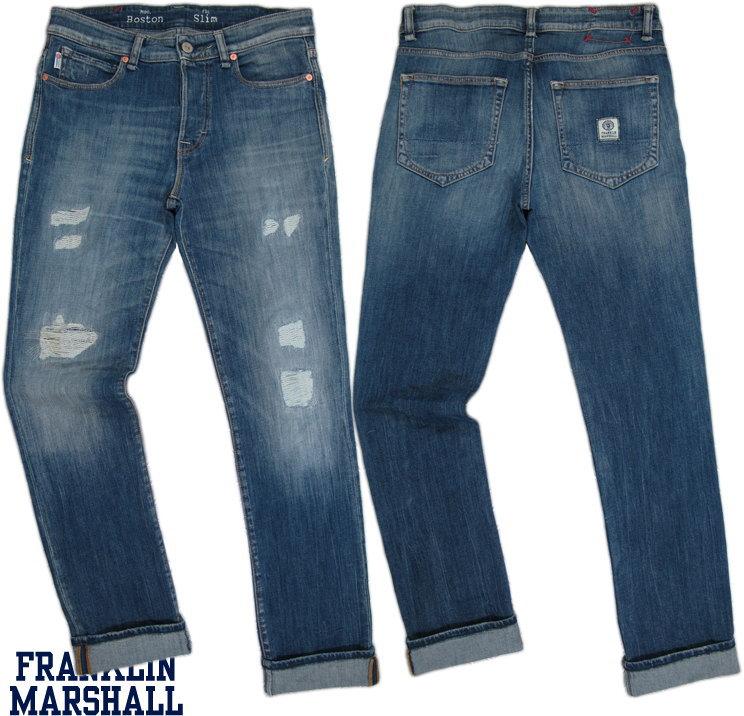FRANKLIN&MARSHALL/フランクリンアンドマーシャル BOSTON Pantaloni uomo slim fit in denim スリムフィット、クラッシュ&リペアストレッチジーンズMID BLUE REPAIRED(ミッドブルーリペアド)/SKU# PTMVA381ANW16