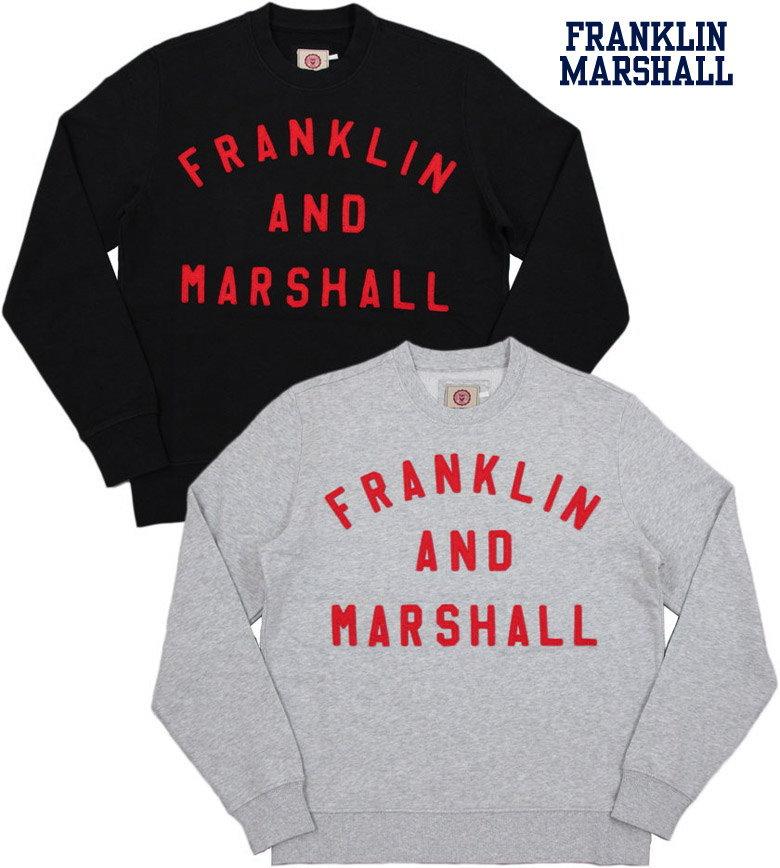 FRANKLIN&MARSHALL/フランクリンアンドマーシャル Men's round neck sweatshirtメンズ クルーネック スウェットシャツ/アップリケアーチロゴ入り、トレーナーFLMF252ANW17
