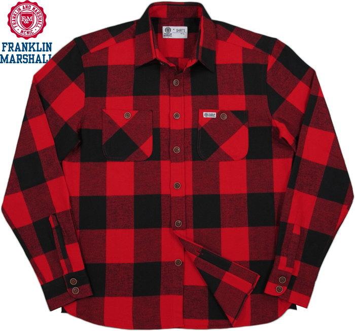 FRANKLIN&MARSHALL/フランクリンアンドマーシャル FLANNEL SHIRTフランネルチェックシャツ/チェックネルシャツ BUFFALO RED CHECK(バッファローレッドチェック)/SKU #SHMF312ANW18