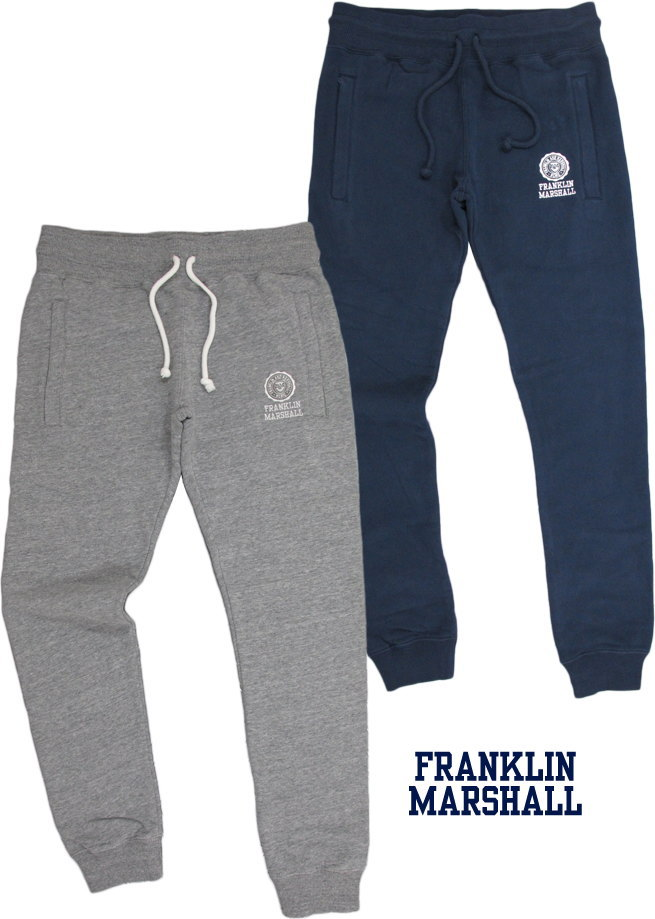 FRANKLIN&MARSHALL/フランクリンアンドマーシャル FLEECE TROUSERS エンブレムロゴ刺繍入り、スウェットパンツ SKU #PFMF084AMW18