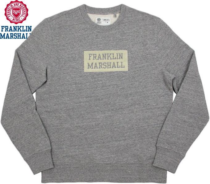 【SALE】30%OFF★FRANKLIN&MARSHALL/フランクリンアンドマーシャル Men's round neck sweatshirt with print on front フロッキープリント入りスウェットシャツ/トレーナー SPORT GREY MELANGE(スポーツグレーメランジ)/SKU #FLMF058AMW18