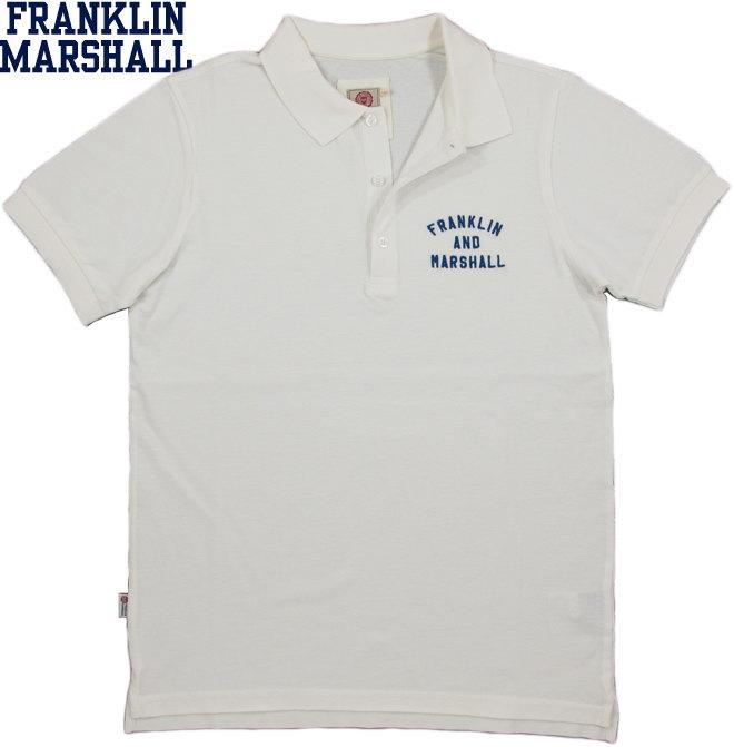 FRANKLIN&MARSHALL/フランクリンアンドマーシャルSHORT SLEEVE PIQUE POLO SHIRTアーチロゴ刺繍入り半袖ポロシャツ MILK(ミルクホワイト)/SKU #POMF470ANS18