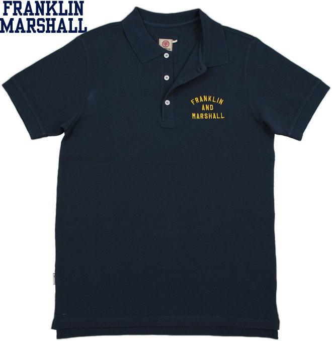 FRANKLIN&MARSHALL/フランクリンアンドマーシャルSHORT SLEEVE PIQUE POLO SHIRTアーチロゴ刺繍入り半袖ポロシャツ NAVY(ネイビー)/SKU #POMF470ANS18