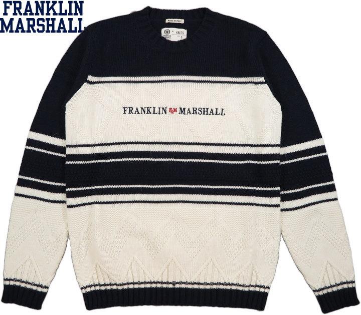 【SALE】30%OFF★FRANKLIN&MARSHALL/フランクリンアンドマーシャル CREW NECK WOOL SWEATER 刺繍ロゴ入り、クルーネックセーター OLD WHITE(オールドホワイト)/KNMF531ANW19