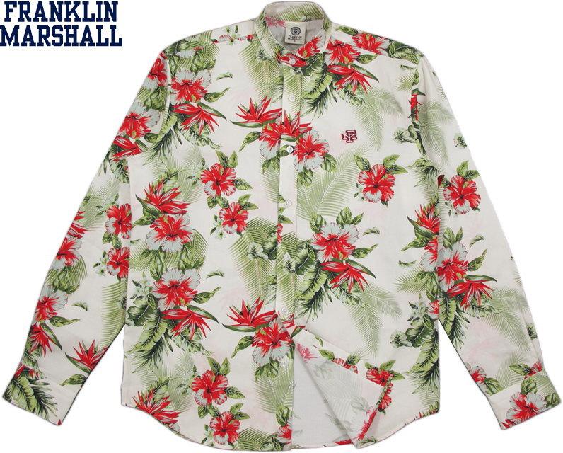 ハイビスカスの花柄プリントがいい感じ フランクリンマーシャルのバンドカラーハワイアンシャツ FRANKLIN MARSHALL フランクリンアンドマーシャル STAND COLLAR LONG SHIRTフラワープリント 数量は多 #SHMF496ANS19 ボタニカルプリント バンドカラーシャツ 花柄立ち襟シャツ スタンドカラーシャツ SKU OVER ALL 爆安プライス FLOWER