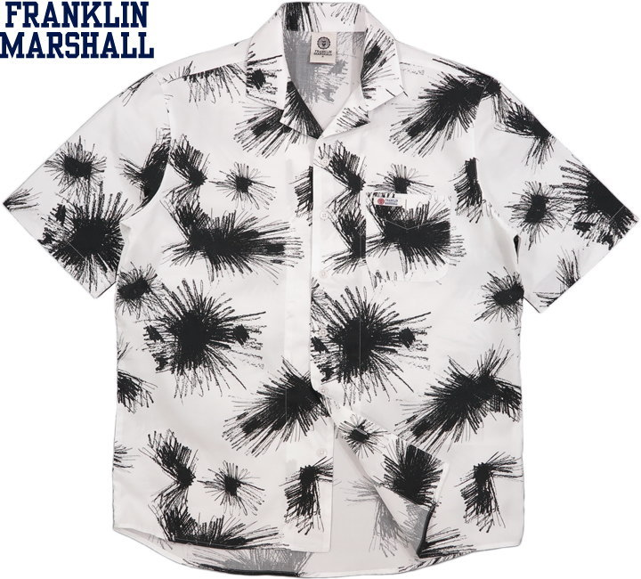 FRANKLIN&MARSHALL/フランクリンアンドマーシャル S/S OPEN SHIRTコットンオープンカラーシャツ/アロハシャツ/ハワイアンシャツ INK ALL OVER(インクオールオーバー)/SKU #SHMF493ANS19